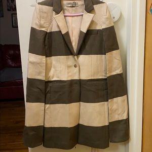 Olive green and offwht wool cape coat!